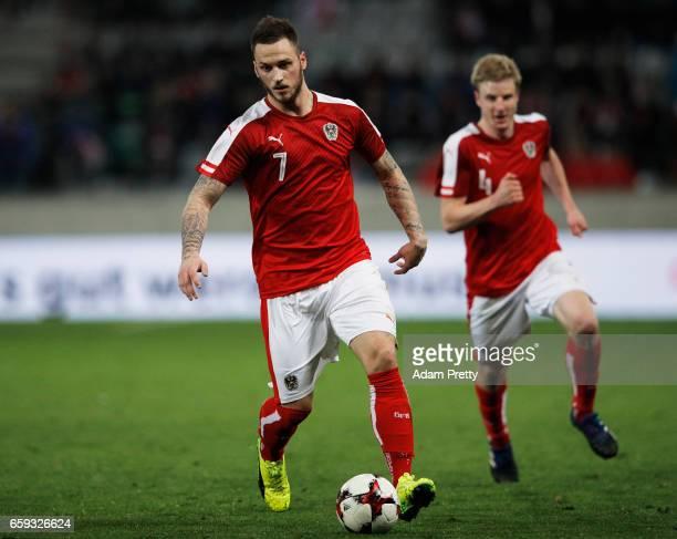 Marko Arnautovic of Austria in action during the Austria v Finland International Friendly match at Tivoli Stadium on March 28 2017 in Innsbruck...