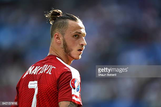Marko Arnautovic of Austria in action during the UEFA EURO 2016 Group F match between Iceland and Austria at Stade de France on June 22 2016 in Paris...