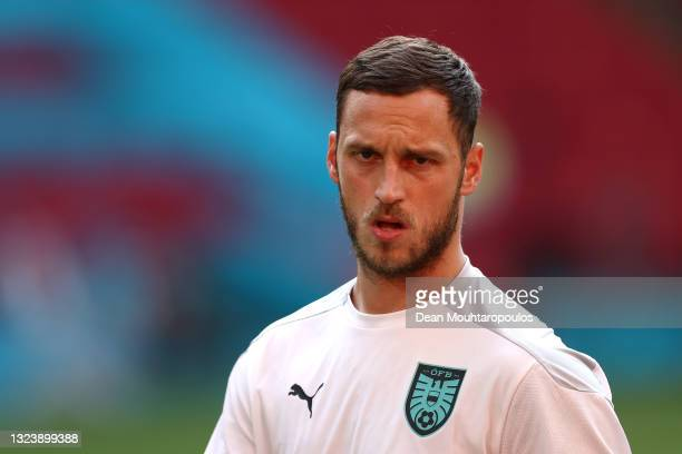 Marko Arnautovic of Austria looks on during the Austria Training Session ahead of the Euro 2020 Group C match between Netherlands and Austria at...