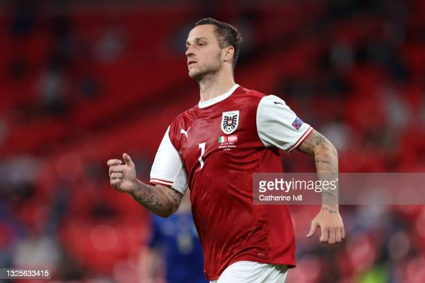 Marko Arnautovic of Austria looks on during the UEFA Euro 2020 Championship Round of 16 match between Italy and Austria at Wembley Stadium at Wembley...