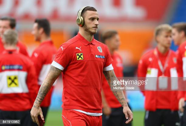 Marko Arnautovic of Austria looks on prior to the FIFA 2018 World Cup Qualifier between Wales and Austria at Cardiff City Stadium on September 2 2017...