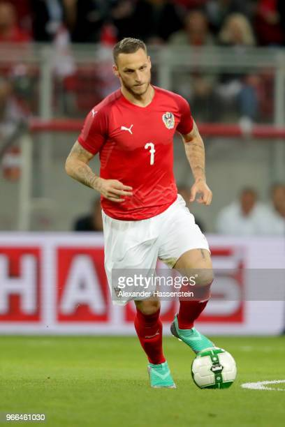 Marko Arnautovic of Austria runs with the ball during the International Friendly match between Austria and Germany at Woerthersee Stadion on June 2...
