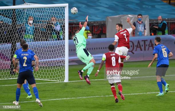 Marko Arnautovic of Austria scores a goal past Gianluigi Donnarumma of Italy that was later disallowed by VAR for offside during the UEFA Euro 2020...