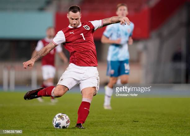 Marko Arnautovic of Austria shoots during the UEFA Nations League group stage match between Austria and Norway at Ernst Happel Stadion on November...