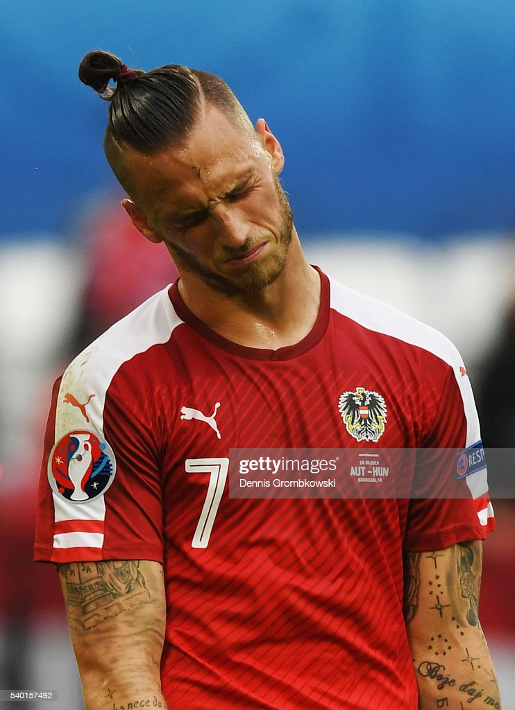 Marko Arnautovic of Austria shows his dejection after his team's 0-2 defeat in the UEFA EURO 2016 Group F match between Austria and Hungary at Stade Matmut Atlantique on June 14, 2016 in Bordeaux, France.