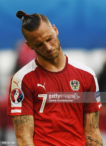 Marko Arnautovic of Austria shows his dejection after his team's 02 defeat in the UEFA EURO 2016 Group F match between Austria and Hungary at Stade...