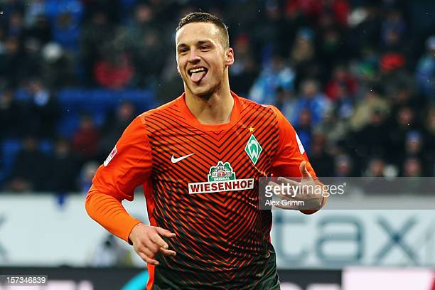 Marko Arnautovic of Bremen celebrates his team's second goal during the Bundesliga match between TSG 1899 Hoffenheim and SV Werder Bremen at...