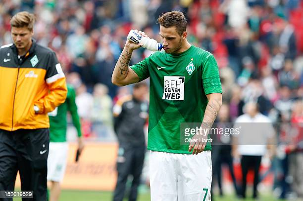 Marko Arnautovic of Bremen reacts after during the Bundesliga match between Hannover 96 and Werder Bremen at AWD Arena on September 15 2012 in...