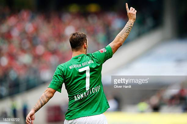 Marko Arnautovic of Bremen reacts during the 1 Bundesliga match between Hannover 96 and Werder Bremen at AWD Arena on September 15 2012 in Hannover...