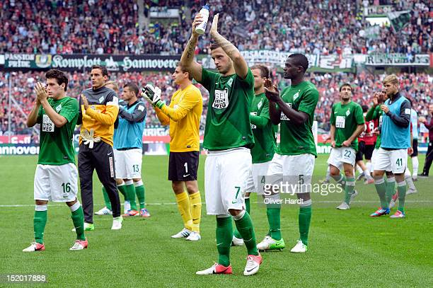 Marko Arnautovic of Bremen waves to the fans after the Bundesliga match between Hannover 96 and Werder Bremen at AWD Arena on September 15 2012 in...
