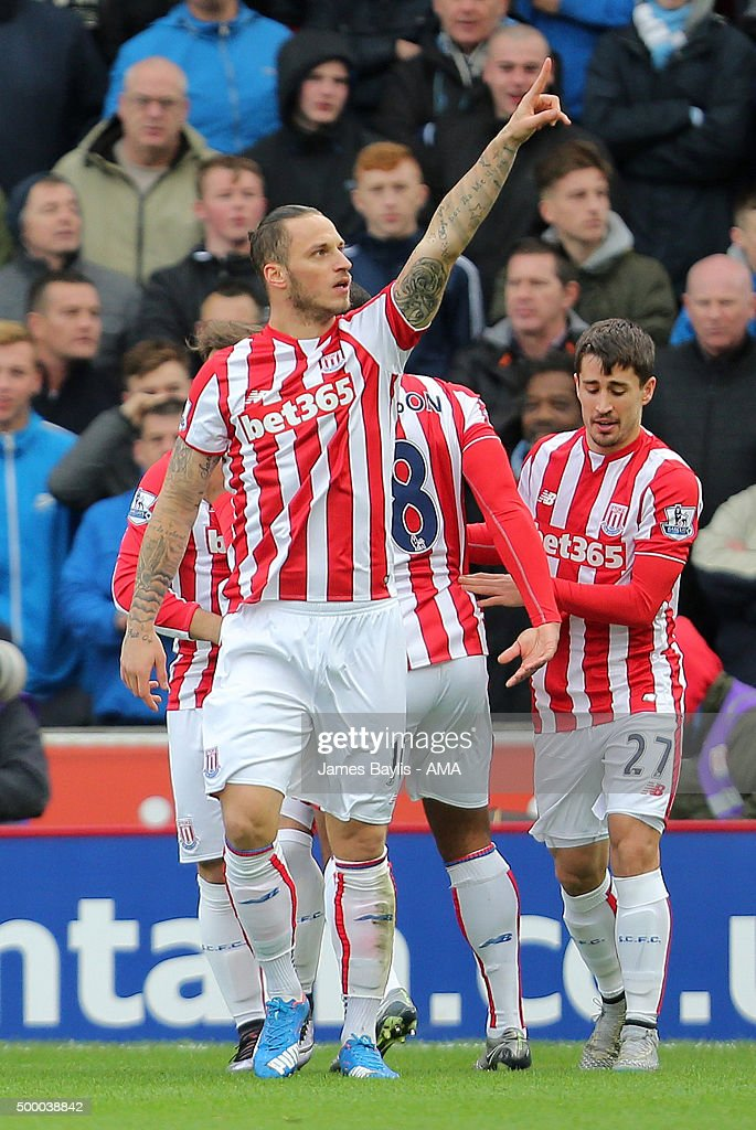 Marko Arnautovic of Stoke City celebrates after scoring a goal to make it 1-0 during the Barclays Premier League match between Stoke City and Manchester City at the Britannia Stadium on December 05, 2015 in Stoke-on-Trent, England.