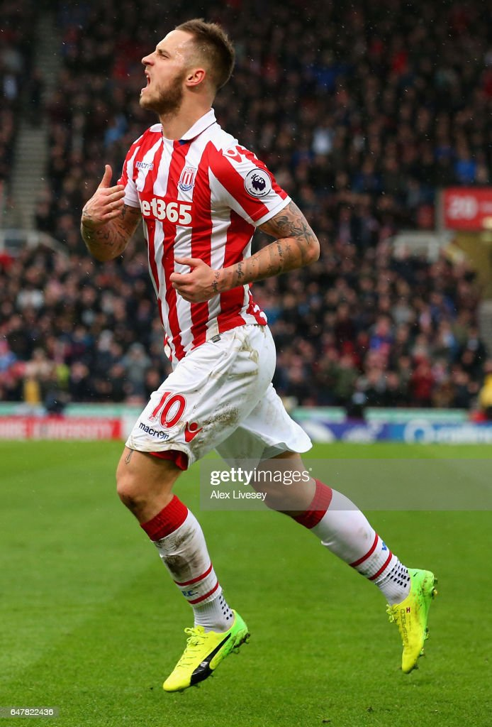 Marko Arnautovic of Stoke City celebrates scoring his ...