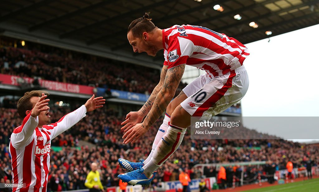 Marko Arnautovic of Stoke City celebrates scoring his team's first goal during the Barclays Premier League match between Stoke City and Manchester City at Britannia Stadium on December 5, 2015 in Stoke on Trent, England.