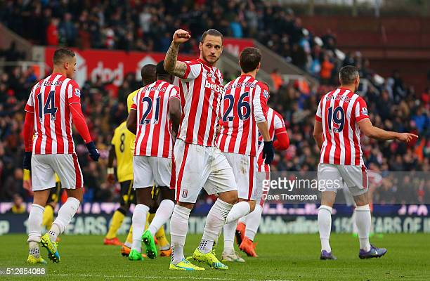 Marko Arnautovic of Stoke City celebrates scoring his team's first goal during the Barclays Premier League match between Stoke City and Aston Villa...