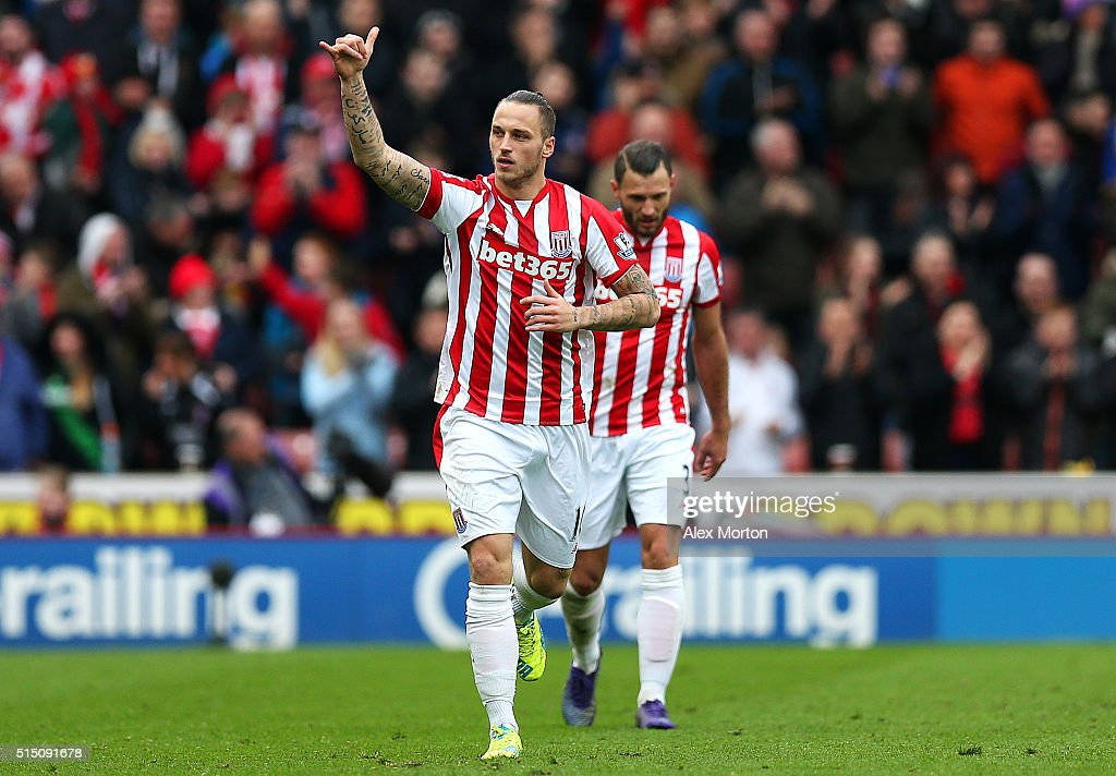 Marko Arnautovic of Stoke City celebrates scoring his team's first goal during the Barclays Premier League match between Stoke City and Southampton at Britannia Stadium on March 12, 2016 in Stoke on Trent, England.
