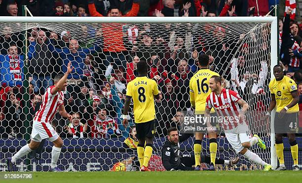 Marko Arnautovic of Stoke City celebrates scoring his team's second goal during the Barclays Premier League match between Stoke City and Aston Villa...