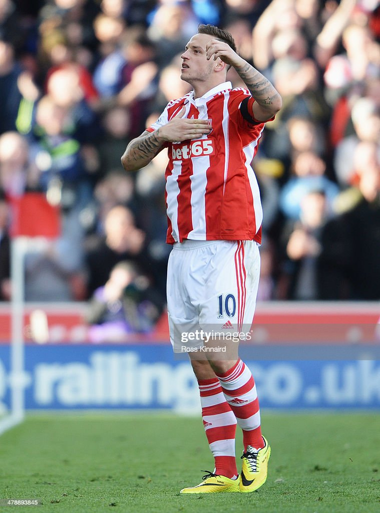 Marko Arnautovic of Stoke City celerbrates as he scores their second goal during the Barclays Premier League match between Stoke City and West Ham United at Britannia Stadium on March 15, 2014 in Stoke on Trent, England.