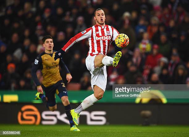 Marko Arnautovic of Stoke City controls the ball during the Barclays Premier League match between Stoke City and Arsenal at Britannia Stadium on...