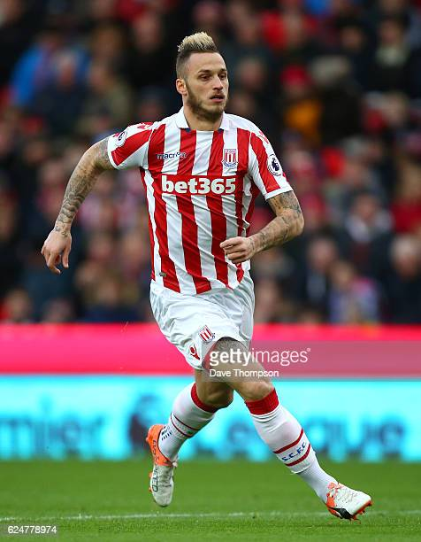 Marko Arnautovic of Stoke City during the Premier League match between Stoke City and AFC Bournemouth at Bet365 Stadium on November 19 2016 in Stoke...