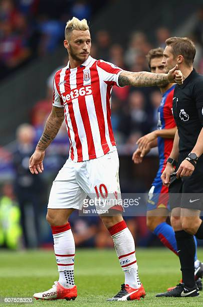 Marko Arnautovic of Stoke City gives a thumbs up to the fans during the Premier League match between Crystal Palace and Stoke City at Selhurst Park...