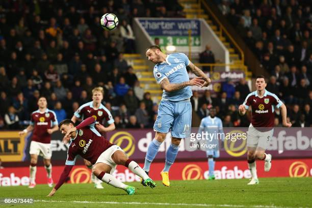 Marko Arnautovic of Stoke City heads towards goal during the Premier League match between Burnley and Stoke City at Turf Moor on April 4 2017 in...