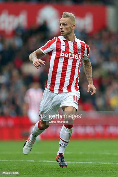 Marko Arnautovic of Stoke City in action during the Premier League match between Stoke City and Manchester City on August 20 2016 in Stoke on Trent...