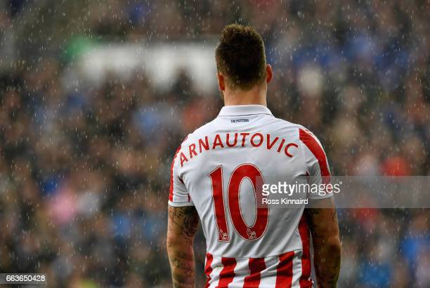 Marko Arnautovic of Stoke City in action during the Premier League match between Leicester City and Stoke City at the King Power Stadium on April 1...