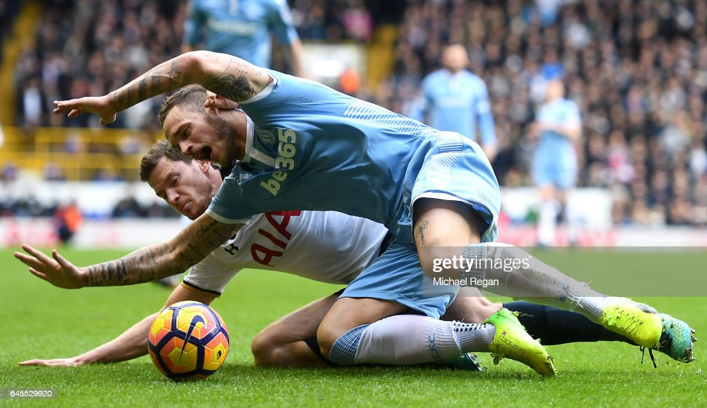 Marko Arnautovic of Stoke City is challenegd by Jan Vertonghen of Tottenham Hotspur during the Premier League match between Tottenham Hotspur and Stoke City at White Hart Lane on February 26, 2017 in London, England.