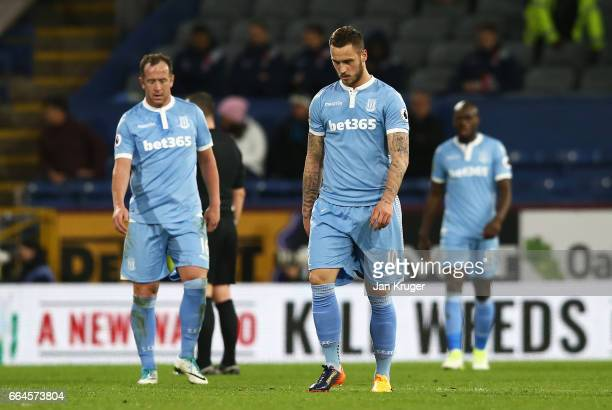 Marko Arnautovic of Stoke City is dejected after Burnley score their first goal during the Premier League match between Burnley and Stoke City at...