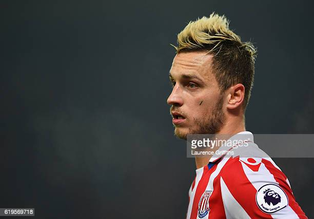 Marko Arnautovic of Stoke City looks on during the Premier League match between Stoke City and Swansea City at Bet365 Stadium on October 31 2016 in...