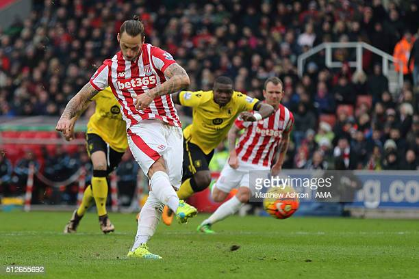 Marko Arnautovic of Stoke City scores a goal to make it 10 from a penalty during the Barclays Premier League match between Stoke City and Aston Villa...