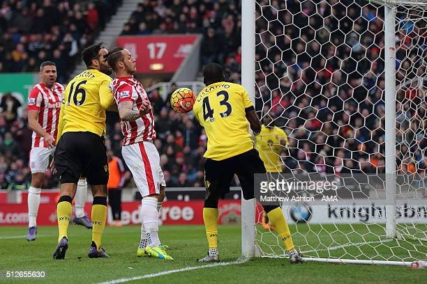 Marko Arnautovic of Stoke City scores a goal to make it 20 during the Barclays Premier League match between Stoke City and Aston Villa at the...