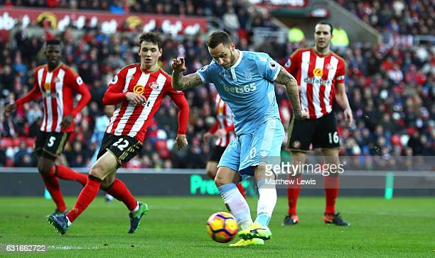 Marko Arnautovic of Stoke City scores his sides second goal during the Premier League match between Sunderland and Stoke City at Stadium of Light on...