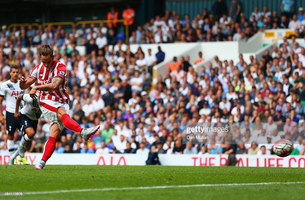 Marko Arnautovic of Stoke City scores his team's first goal from the penalty spot during the Barclays Premier League match between Tottenham Hotspur and Stoke City at White Hart Lane on August 15, 2015 in London, United Kingdom.