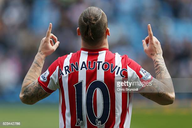 Marko Arnautovic of Stoke City undergoes his prematch ritual during the Barclays Premier League match between Manchester City and Stoke City at...