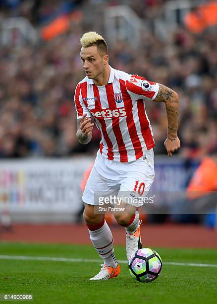 Marko Arnautovic of Stoke in action during the Premier League match between Stoke City and Sunderland at Bet365 Stadium on October 15 2016 in Stoke...