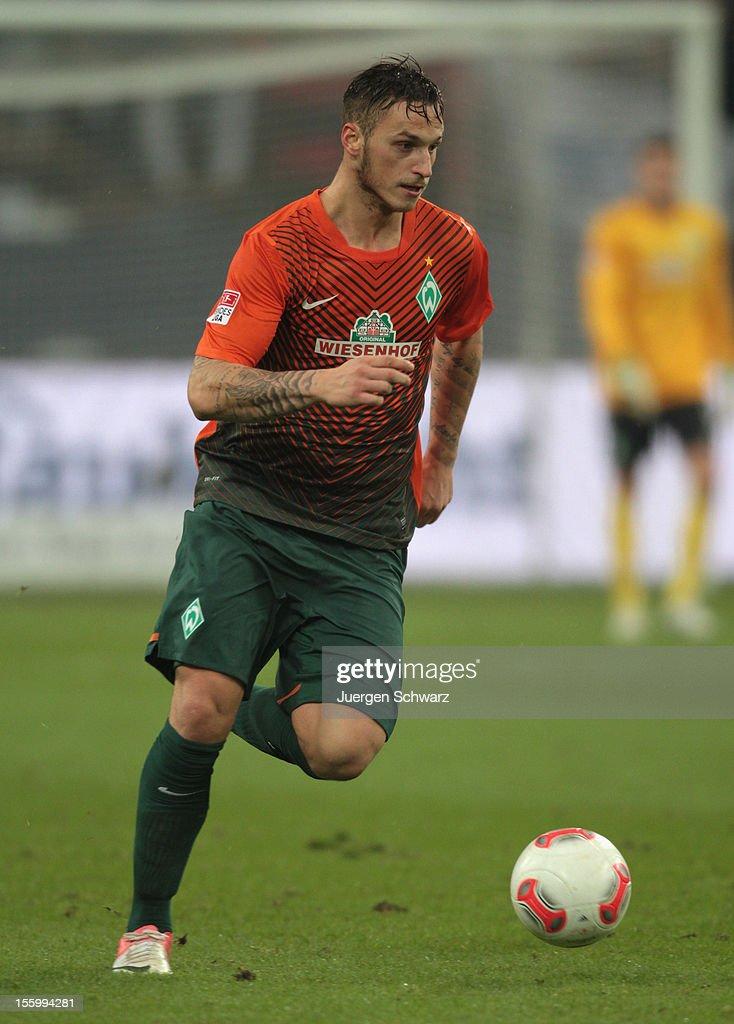Marko Arnautovic of Werder Bremen controls the ball during the Bundesliga match between FC Schalke 04 and Werder Bremen at Veltins-Arena on November 10, 2012 in Gelsenkirchen, Germany.