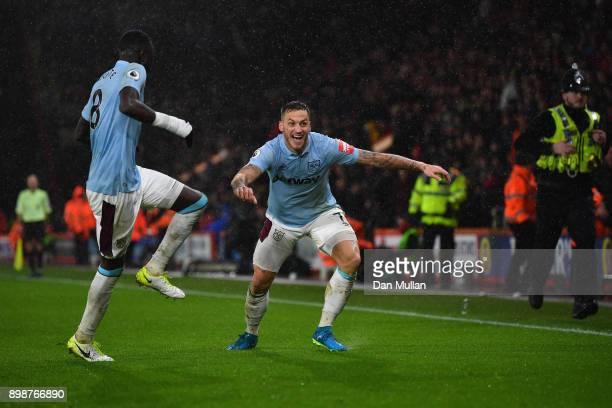 Marko Arnautovic of West Ham United and Cheikhou Kouyate of West Ham United celebrates after Marko Arnautovic scored their sides third goal during...