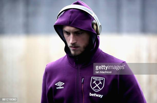 Marko Arnautovic of West Ham United arrives at the stadium prior to the Premier League match between Burnley and West Ham United at Turf Moor on...