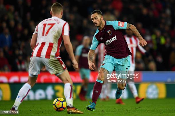 Marko Arnautovic of West Ham United attempts to get past Ryan Shawcross of Stoke City during the Premier League match between Stoke City and West Ham...