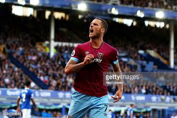 Marko Arnautovic of West Ham United celebrates after ...