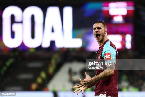 Marko Arnautovic of West Ham United celebrates his sides second goal during the Premier League match between West Ham United and West Bromwich Albion...