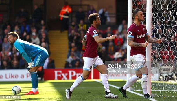 Marko Arnautovic of West Ham United celebrates scoring his goal during the Premier League match between Watford FC and West Ham United at Vicarage...