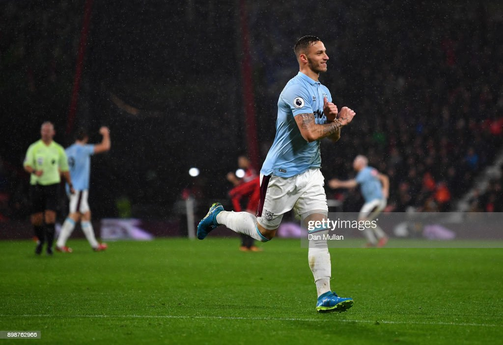 Marko Arnautovic of West Ham United celebrates scoring his sides second goal during the Premier League match between AFC Bournemouth and West Ham United at Vitality Stadium on December 26, 2017 in Bournemouth, England.