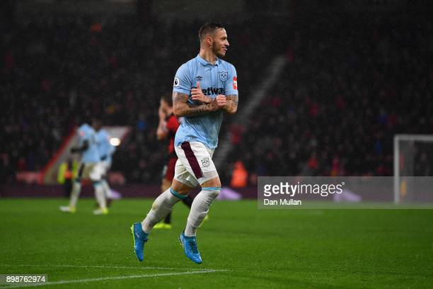 Marko Arnautovic of West Ham United celebrates scoring his sides second goal during the Premier League match between AFC Bournemouth and West Ham...
