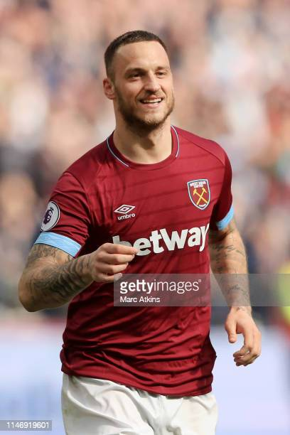 Marko Arnautovic of West Ham United celebrates scoring his team's second goal during the Premier League match between West Ham United and Southampton...