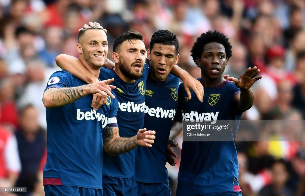 Marko Arnautovic of West Ham United celebrates with ...