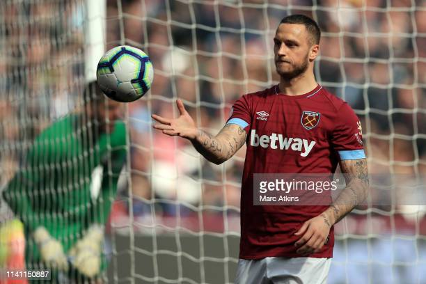 Marko Arnautovic of West Ham United during the Premier League match between West Ham United and Southampton FC at London Stadium on May 4, 2019 in...