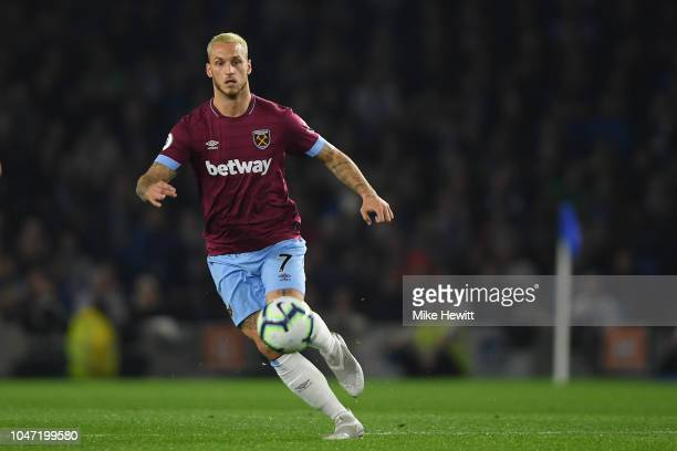 Marko Arnautovic of West Ham United in action during the Premier League match between Brighton Hove Albion and West Ham United at American Express...