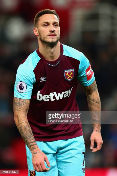 Marko Arnautovic of West Ham United in action during the Premier League match between Stoke City and West Ham United at Bet365 Stadium on December 16...